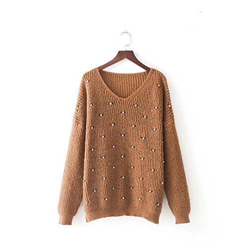 MEI&S Col en V femmes Regroupement cavaliers occasionnels Haut Pull Sweater sweat-shirts Kaki