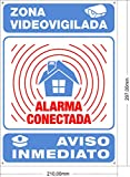 ????? Cartel disuasorio Interior/Exterior Premium y Ultra-Resistente metálico, Cartel disuasorio Alarma conectada Aviso policía, 30x21 cm ?????