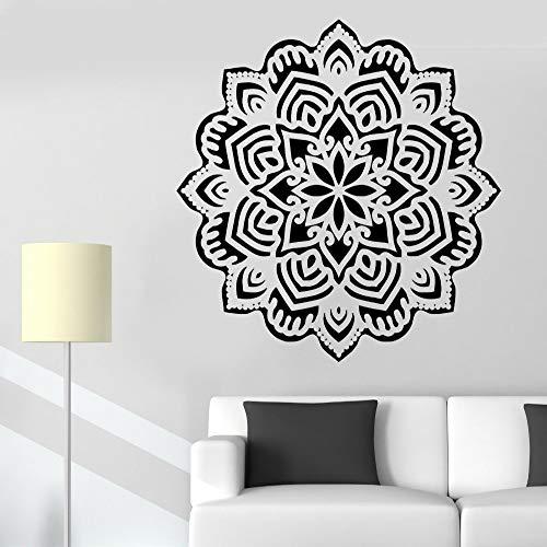 zhuziji Yoga Mandala Om Vinyl Wandaufkleber Indischer Buddha Symbol Mehndi Wandtattoo Wohnkultur Blume Wand Schlafzimmer Wandbild Wallpap schwarz 68X68 cm
