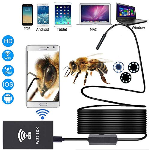 Drahtlose Inspektionskamera, WiFi Endoscope HD Borescope Rigid Snake Cable für IOS iPhone Android Samsung Smartphone,2m