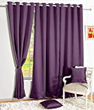 #9: Story@Home Premium Blackout Eyelet 1 Piece Faux silk ring top Window Curtain-5 feet, Purple