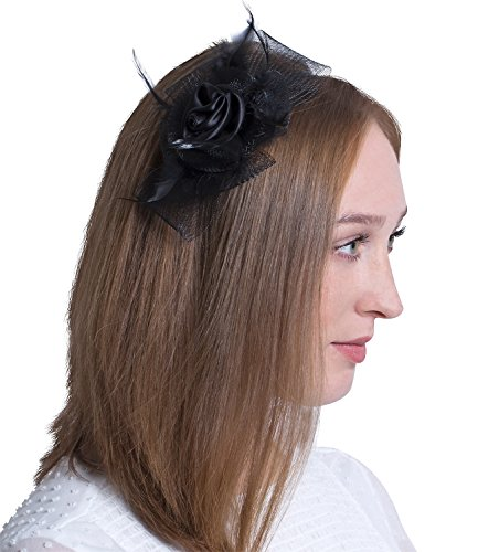 SIX 'Party' Damen Haarschmuck, schmaler Damen Haarreif mit großem Fascinator, schwarze Satin Rose, Schleife aus Tüll, Federn (315-638)