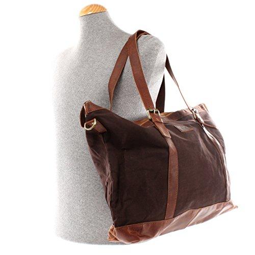 LECONI Weekender Canvas Rindsleder Reisetasche XL Shopper Damen Herren Retro Look 50x36x15cm LE2013-C mokka / braun