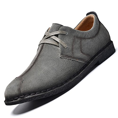 Men's Genuine Suede Leather Chaussure Oxford Shoes gray