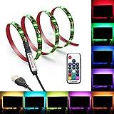 USB LED beleuchtung, Relohas LED-Hintergrundbeleuchtung für TV, IP65 Wasserfest LED-Streifen mit Fernbedienung, 2M 5050 RGB-Bias-Beleuchtung Mehrfarbig für Flachbildfernseher und PC, Stromversorgung über USB-Anschluss (2M)