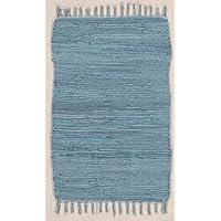 Alfombra Abano tejida, 100 % algodón en varios colores, 60x100 cm, azul