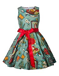 Hbbmagic Vintage Party Girls Dress Of Flower Cotton Sleeveless Dresses For Girls 1950s Girls Dress With Belt Polka Dot Floral Print Girls Dresses (Girl's 11-12, Mexican Style)