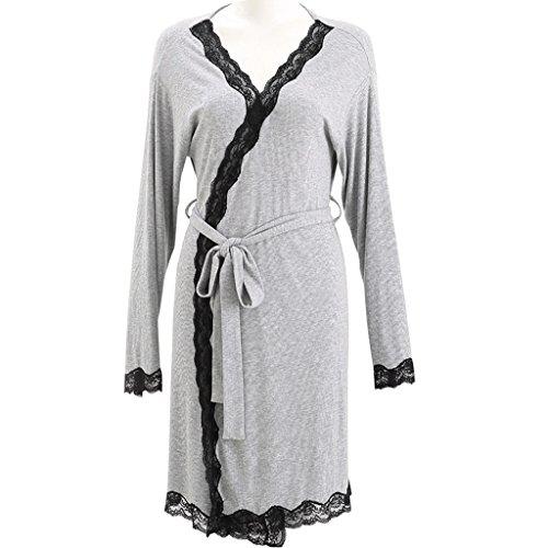 0 Touch Sommer lange Ärmel dünne Spitze Spitze Spitze Bademantel Hause Pyjamas Grau