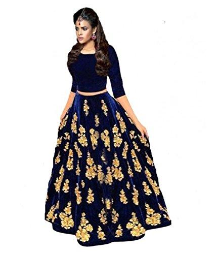 New Designer Nevy Blue Colour Velvet Material Wedding, Party,And Fastival Wear Lehengha...