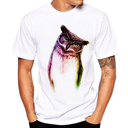 Männer Kurzarm-Shirt, routinemäßig männliche Modell Bluse Owl Print Tees Übergröße (Weiß, 4XL)