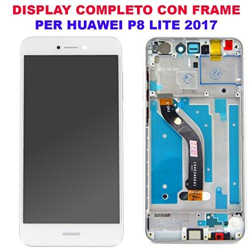 Vetro Schermo Display LCD Touch Screen Huawei P8 LITE 2017 BIANCO WHITE PRA-LX1 LX3 LA1 Telaio Frame Vetro