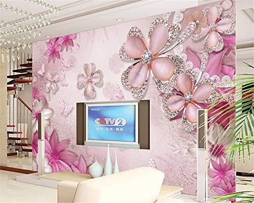 MuralXW Geeignet für den Innenbereich 3D-Wandbild Wallpaper Goldschmuck Blumen Schmetterling TV Schlafzimmer Hintergrund Wandbild-450x300cm