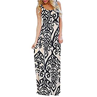 BaZhaHei Women's Round Neck V Neck Long Maxi Dress Boho Print Sleeveless Maxi Dress Sleeveless Baggy Casual Beach Sundress Beige