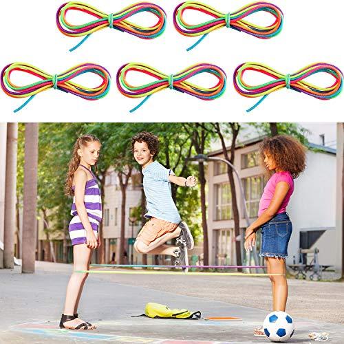 Gejoy 5 Stücke Chinesische Springseile Buntes Strecken Seil Elastisches Fitness Spiel für Bewegung