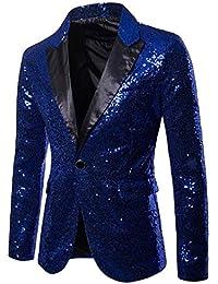 65bcbfc69e35 Longra-Uomo Giacca Elegante Vestito da Uomo Slim Fit Cappotto Giacca Blazer  in Paillettes Uomo Giacca Costume Festivo Vestito da…