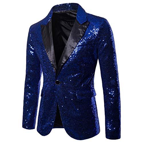 Amoyl Herren Slim Fit Sakko Blazer Anzugjacke Freizeit EIN-Knopf Pailletten Glitter Anzug Jacke Karneval Kostüm für Hochzeit Party Festlich (Blau, XL)