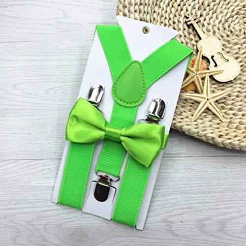 LouiseEvel215 Verstellbar und elastisch mit Metallclips Polyester Kids Design Hosenträger und Bowtie Bow Tie Set Passende Krawatten Outfits Polyester Bowties