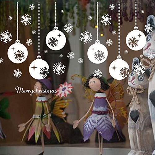 achts-Schneeflocken-Lichterkette, Wandaufkleber, Wandaufkleber, für Weihnachten, Urlaub, Winter, Weiß, Dekoration, Dekoration, Party-Zubehör (2 Bögen) ()