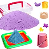 Akhand 1 KG Active Sand for Kids to Play with 10 Shape Moulds and Inflatable Sandbox