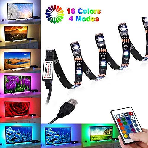 Tira LED TV 2M, BrizLabs Tiras LED Iluminación USB Retroiluminación LED de TV con Control Remoto 24 Botones, 16 RGB Colores y 4 Modos para Cine en Casa TV DE 40 A 60 Pulgadas HDTV/PC Monitor