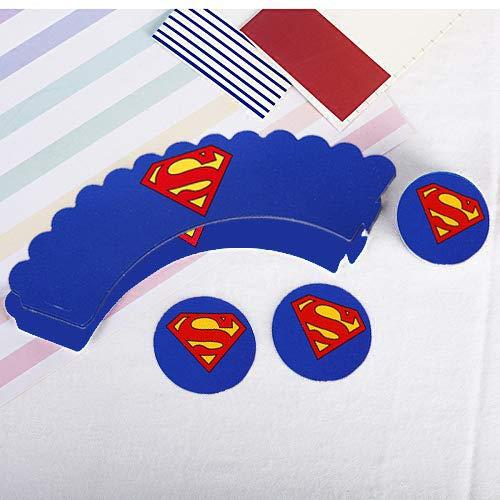 51VzTokWCFL - Envoltorio para tartas de superhéroe (48 unidades), decoración para tartas de superhéroe, suministros para fiesta de superhéroes, decoración para pasteles de Superman