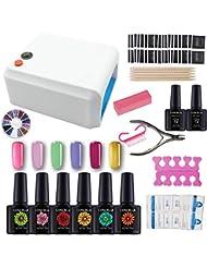 Coscelia Kit Vernis semi permanent 36W Lampe UV pour Ongle Gel Polish Soak Off Manucure Topcoat Primer Nail Art Kit