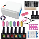 Coscelia Kit Vernis semi permanent 36W Lampe UV pour Ongle Gel Polish Soak Off Manucure Topcoat Primer Nail Art Kit