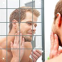 Guizen Autoadhesivo espejo de etiqueta de la pared de DIY Espejos de Pard Etiqueta Engomada Desprendible del Arte de la Decoración de la Pared del Espejo Para la Sala de Estar, Sitio de Los Cabritos.