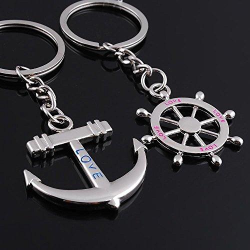 Hosaire Paar Keychain Taschenanhänger Schlüsselanhänger Kreative Mini Schiffs Anker/Ruder Metall Anhänger Paar Schlüsselbund Taschen Deko Anhänger KFZ Keys Rucksack Schlüsselringe - 2