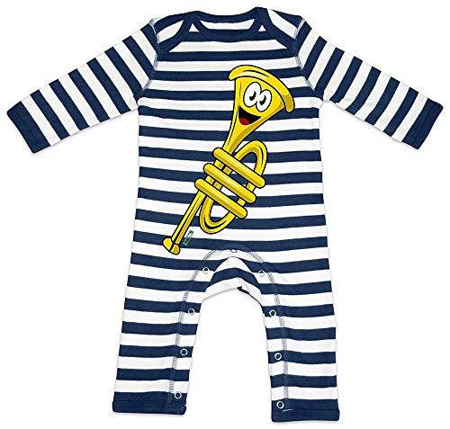 HARIZ Baby Strampler Streifen Trompete Lachend Instrument Kind Witizg Plus Geschenkkarten Navy Blau/Washed Weiß 3-6 Monate (Bass Instrument Kostüm)