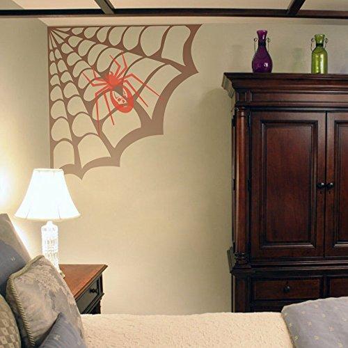 Geckoo Größere Spider Web Wand Aufkleber Play Zimmer Aufkleber Creative Halloween Vinyl Kunst Raum Ecke Aufkleber (Large, Spider Web-Brown; Spider-orange) (Spider Ecke Halloween Web)