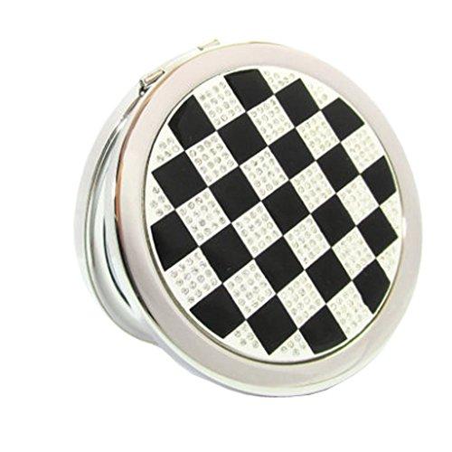 Élégant simple Grille Double Cosmetic Mirror Mirror Maquillage Portable, Noir