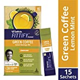Saffola FITTIFY Gourmet Green Coffee Instant Beverage Mix - 30 g (Lemon Mint, 15 Sachets)