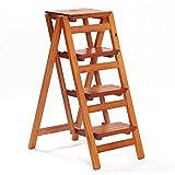 LIXIONG Klappleiter Tragbar Multifunktion Leiter mit 4 Schritten, Massivholz, 92cm Hoch (Farbe : Light Walnut)