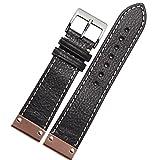 New 22mm schwarz Leder Uhrenarmband ersetzen Schnalle Rose Gold Teller Metall Armband