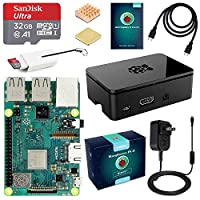 ABOX Raspberry Pi 3 B plus Complete Starter Kit with Model B Plus Motherboard 32GB Micro SD Card NOOBS,5V 3A On or Off Power Supply,Black Case,HDMI Cable,SD Card Reader with USB A and USB C,Heatsink