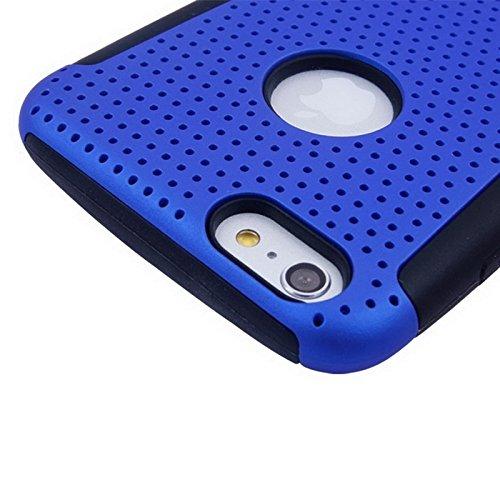 Phone case & Hülle Für iPhone 6 Plus / 6S Plus, 2 in 1 Split Sliding Silikon + Kunststoff Kombi-Gehäuse mit Halter ( Color : Blue ) Blue