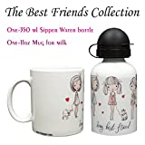 Set Of Water Bottle 350ml With Mug The Best Friends Collection 3 Girls