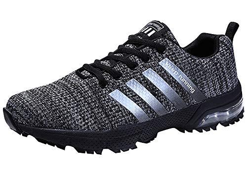 Damen Herren Laufschuhe Sportschuhe Turnschuhe Trainers Running Fitness Atmungsaktiv Sneakers(Schwarz,Größe38)