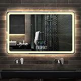 Badezimmerspiegel Badezimmer LED Licht Spiegel Badezimmer Wandbehang Smart Bluetooth rahmenlose...