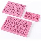 TOOGOO(R)3 X Alfabeto de Silicona Letra Numero Torta de la galleta pasta de azucar Decoracion el molde