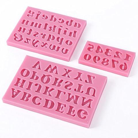 Moule silicone - TOOGOO(R)3 x Numero lettre de l'alphabet silicone gateau biscuit fondant decoration