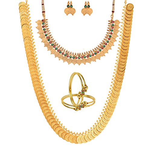 Zeneme Gold-Plated Chain Necklace with Earrings, Bangle Set & Temple Coin Chain Necklace for Women/Girls