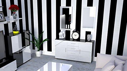 Labi möbel kR2 commode buffet cosmo 130 cm-couleur : noir brillant façades : blanc brillant