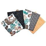 Craft Cotton Fat Quarter Stoffpaket Disney Jungle Book Stoff, Baumwolle, Bunt, 45 x 55 x 0,5 cm, 5-Einheiten