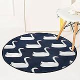 ORPERSIST Teppich Runde Little Swan Muster Teppich Rutschfeste Wohnzimmer Schlafzimmer Bad Küche Bodenmatte Computer Stuhl Hängenden Korb Bodenmatte Yoga Mat,60*60Cm