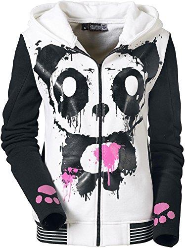 Killer Panda Mase Hood Felpa jogging donna bianco/nero M
