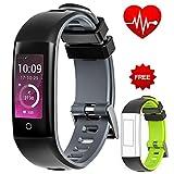 AUNEY Fitness Tracker, Activity Tracker Sport Band Smart Armband Wasserdicht Herzfrequenz Sleep Monitor Schrittzähler für IOS und Android, grau