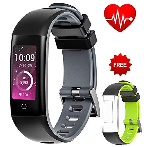 Rastreador de actividad deportiva Auney impermeable, con pantalla de color, correa, monitor de ritmo cardíaco y sueño, podómetro, para iOS y Android, gris
