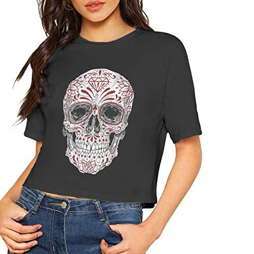 Realistische Tag der Toten Zuckerschädel Frauen Mädchen Kurzarm T-Shirt Tees Sport Short(L,Schwarz) -